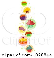 Clipart Border Of Colorful Cupcakes And Confetti Royalty Free Vector Illustration