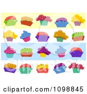 Clipart Colorful Sparkly Cupcake Website Borders Royalty Free Vector Illustration