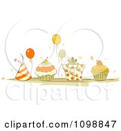 Clipart Orange And Beige Party Hats Balloons Cupcakes And A Gift Box Royalty Free Vector Illustration