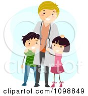 Clipart Friendly Male Pediatric Doctor Standing With Two Kids Royalty Free Vector Illustration