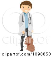 Clipart Happy Veterinarian Standing With A Dog On A Leash Royalty Free Vector Illustration