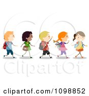 Clipart Excited Diverse School Kids Walking In Line Royalty Free Vector Illustration