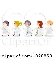 Clipart Happy Diverse Pre School Graduate Children Royalty Free Vector Illustration