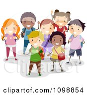 Clipart Group Of Happy Diverse School Children Smiling Royalty Free Vector Illustration