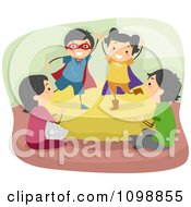 Clipart Happy Children Acting Out A Play For Their Parents Royalty Free Vector Illustration