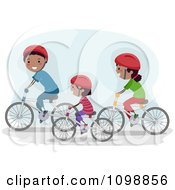 Clipart Happy Black Family Riding Bikes Together Royalty Free Vector Illustration