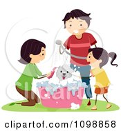 Clipart Happy Family Bathing Their Dog In A Tub Royalty Free Vector Illustration