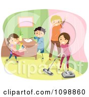 Clipart Happy Family Doing Spring Cleaning In Their Home Royalty Free Vector Illustration
