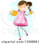 Clipart Happy Girl Wearing An Apon And Carrying A Tea Pot And Cup For A Party Royalty Free Vector Illustration