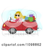 Clipart Happy Blond Woman Driving A Convertible Car Packed With Shopping Bags Royalty Free Vector Illustration