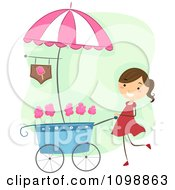 Clipart Happy Cotton Candy Vendor Girl Pushing Her Cart Royalty Free Vector Illustration by BNP Design Studio