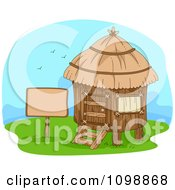 Clipart Blank Sign By A Yurt Hut Royalty Free Vector Illustration