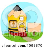 Clipart Pencil Shaped School House With A Blank Sign In The Yard Royalty Free Vector Illustration by BNP Design Studio