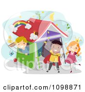 Clipart Happy Children Acting Out Story Book Scenes Royalty Free Vector Illustration