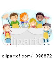 Clipart Happy Diverse People With Cleaning Supplies Around A Sign Royalty Free Vector Illustration