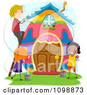 Clipart Happy Diverse Kids Painting An Easter Egg House Royalty Free Vector Illustration by BNP Design Studio