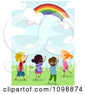 Clipart Excited Diverse Kids Looking Up At A Magical Rainbow In The Sky Royalty Free Vector Illustration