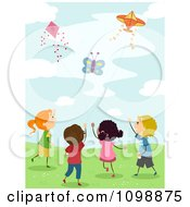Clipart Happy Diverse Kids Flying Kites Royalty Free Vector Illustration