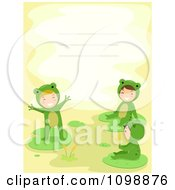 Invitation Or Background With Kids In Frog Costumes And Copyspace
