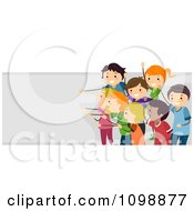 Clipart Excited Children Cheering In Front Of A Banner Royalty Free Vector Illustration