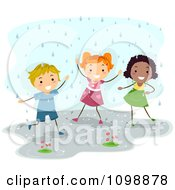 Clipart Happy Diverse Children Playing In The Rain Royalty Free Vector Illustration
