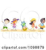 Clipart Excited Diverse Happy Children Going To The Beach Royalty Free Vector Illustration