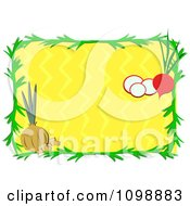 Green Frame With Onions And Radishes Over Yellow Zig Zags