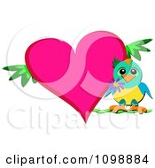 Sweet Bird Perched By A Heart With Branches