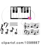 Music Notes And A Keyboard