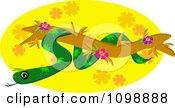 Clipart Green Tree Snake Over A Floral Oval Royalty Free Vector Illustration by bpearth