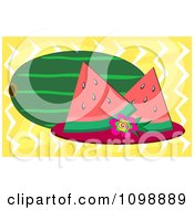 Clipart Whole Watermelon And Slices Over Yellow With Zig Zags Royalty Free Vector Illustration by bpearth