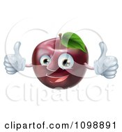 Clipart Happy Red Apple Mascot Holding Two Thumbs Up Royalty Free Vector Illustration