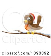 Clipart Happy Christmas Robin Wearing A Santa Hat And Perched On A Branch Royalty Free Vector Illustration
