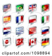 Clipart 3d Chat Balloon Flag Icons With Chrome Edges Royalty Free Vector Illustration