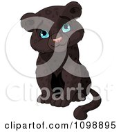 Cute Baby Black Panther Cub Sitting And Smiling