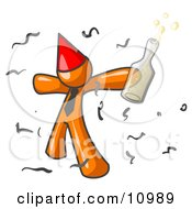 Happy Orange Man Partying With a Party Hat, Confetti and a Bottle of Liquor