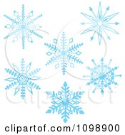 Clipart Blue Ornate Winter Snowflakes Royalty Free Vector Illustration