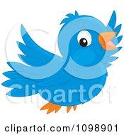 Clipart Happy Cute Bluebird Flying Royalty Free Vector Illustration by Alex Bannykh #COLLC1098901-0056