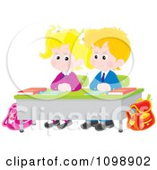 Clipart Cute School Boy And Girl Sitting Patiently At Their Desk Royalty Free Vector Illustration