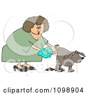 Clipart Woman Holding A Bag And Picking Up Dog Poop Royalty Free Illustration