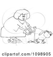 Clipart Outlined Woman Holding A Bag And Picking Up Dog Poop Royalty Free Vector Illustration by djart