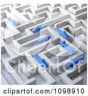 Clipart 3d Blue Arrows Trying To Find Their Way Through A Labyrinth Maze Royalty Free CGI Illustration by Mopic