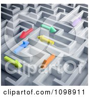 Clipart 3d Colorful Arrows Trying To Find Their Way Through A Labyrinth Maze Royalty Free CGI Illustration