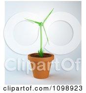 3d Wind Turbine Plant Growing In A Terra Cotta Pot