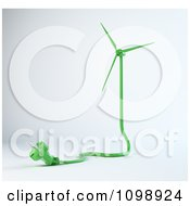 Clipart 3d Green Wind Energy Turbine Power Cable Royalty Free CGI Illustration
