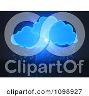 Clipart 3d Blue Clouds And Binary Code Rain Royalty Free CGI Illustration by Mopic #COLLC1098927-0155