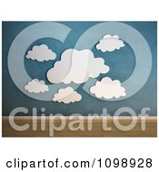 Clipart 3d Blue Cloud Wall Hangings Against Blue Royalty Free CGI Illustration