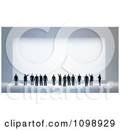 3d Small People Looking Up And Pointing At A Large Sign