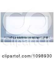 Clipart 3d Tiny People Looking Up And Pointing At A Large Sign Royalty Free CGI Illustration