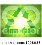 Clipart 3d Green Recycle Or Green Energy Arrows On Rays Royalty Free CGI Illustration by Mopic
